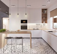 Modern Kitchen Idea cucina scandinava moderna in bianco, nero e legno con piastrelle eclettici - appartamento moderno Modern Kitchen Design, Interior Design Kitchen, Modern Interior Design, Kitchen Designs, Stylish Interior, Contemporary Design, Bar Interior, Simple Interior, Room Interior