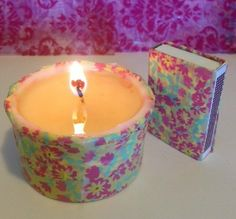 3 oz Soy Candle in Tin - with corresponding Matchbox - Yellow Blue + Pink Flower Multi Design