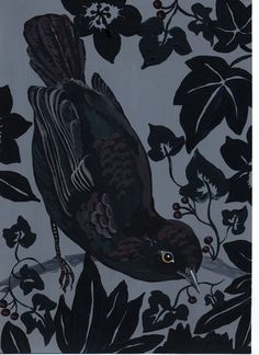 lavender shade, negative space, cut outs?, calm and still, round shape of the bird, draped angular,