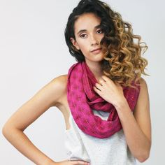 Anchal's exclusive Living in Color Collection presents the Fucshia Infinity Scarf, handcrafted from layers of overdyed vintage cotton saris and held together by a kantha stitch. The overdye process tr