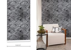 WR0388T&C - Ashen Blooms - Contemporary Wallpaper. TREAT and COMPANY creates amazing products—trend-inspired and awe-inspiring Wallpapers. W...