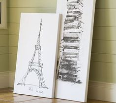 Book Stack Stretched Canvas #potterybarn