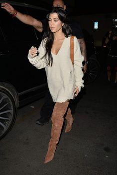 Splurge: Kourtney Kardashian's Kim Kardashian LA Birthday Dinner $415 Helmut Lang Crema V Neck Distressed Sweater and $1,156 Yeezy Umber Tubular Thigh High Boots - Fashion Bomb Daily Style Magazine: Celebrity Fashion, Fashion News, What To Wear, Runway Show Reviews