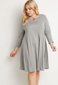 Plus Size Cutout-Back Trapeze Dress