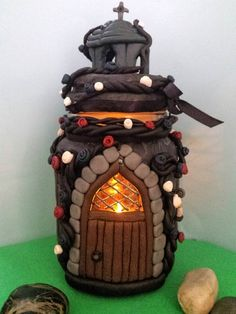 Polymer clay Gothic house tea light holder £25.00