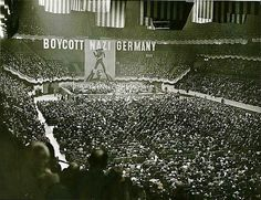 A rally to boycott Nazi-Germany, held at the third Madison Square Garden on March 15, 1937. It was sponsored by the American Jewish Congress and the Jewish Labor Committee