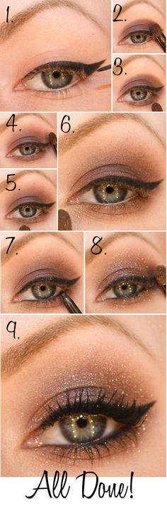 Sparkly smokey cat eye. Gorgeous eye make up.