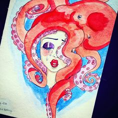 Aquarelle drawing girl with octopus by Julia Hanning 🐙