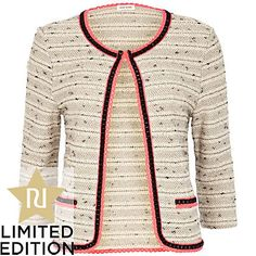 cream boucle fluorescent trim jacket - jackets - coats / jackets - women - River Island