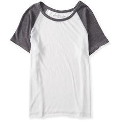 Aeropostale Sheer Raglan Baseball Tee (7.78 CHF) ❤ liked on Polyvore featuring tops, t-shirts, shirts, blusas, baseball tee, grey floral, raglan t shirt, ripped t shirt, floral shirt and raglan shirts