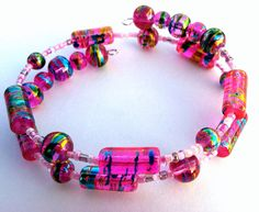 Bright Hot Pink Glass Bead Bracelet on Silver Memory Wire. Stays put with no annoying clasp to hassle with!  $9.99