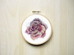 Watercolour Rose Flower Modern Counted Cross Stitch Pattern | Instant Download PDF by RhiannonsCrossStitch on Etsy https://www.etsy.com/ca/listing/242616300/watercolour-rose-flower-modern-counted