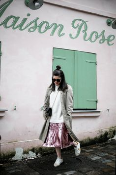 Sequined Skirt, Burberry Trench, Pink Sequin, Golden Goose, Bomber Jacket, Sequins, Sneakers, Skirts, Jackets