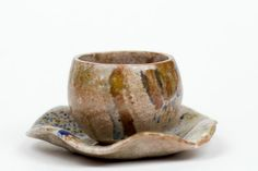 Coffee cup handmade with plate,  hand colored ceramic cup with plate, cup and plate by PotterAsh on Etsy