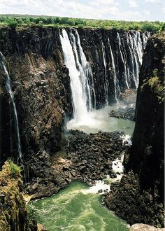 Victoria Falls from Zimbabwe Side.   LOVE waterfalls!!!  This one looks cool.