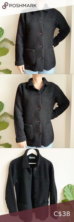 Contemporaine Black 100% Wool Button Up Jacket XL Contemporaine Black 100% Wool Button Up Jacket XL 2 front pockets 🌱 Great preloved condition, gently worn Jackets & Coats Teddy Jackets Beige Faux Fur Coat, White Fur Coat, Teddy Bear Jacket, Bear Coat, Red Pixie, Oversized Coat, Shearling Jacket, Zip Up Sweater, Winter Sweaters