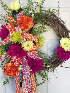 Orange and Lime Round Summer or Spring Grapevine Wreath by WilliamsFloral on Etsy https://www.etsy.com/listing/272799360/orange-and-lime-round-summer-or-spring