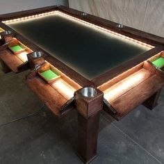 Game Room Tables, Board Game Table, Board Games, Game Room Decor, Room Setup, Gaming Table Diy, Dnd Table, Board Game Storage, Man Cave Room