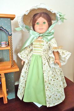 Felicity's Nature's Own Colonial Straw hat and Golden Forest dress by BackInTimeCreations
