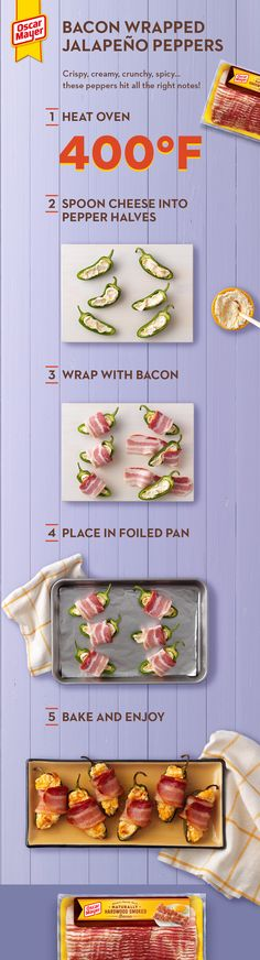 Treat your guests right with Bacon-Wrapped Jalapeño Peppers. Bacon-Wrapped Jalapeño Peppers are (in our humble opinion) creamy, crispy, spicy and yummy. Thanksgiving Appetizers, Thanksgiving Side Dishes, Thanksgiving Recipes, Holiday Recipes, Mexican Food Recipes, Diet Recipes, Cooking Recipes, Healthy Recipes, Healthy Snacks
