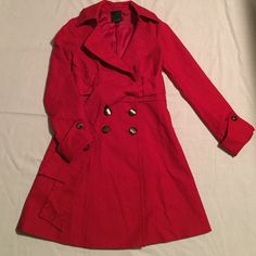 """THE LIMITED Red coat THE LIMITED red coat in excellent condition tow front pockets, with sash belt, length:35"""" fits tts (no deodorant residues) I used it once or twice The Limited Jackets & Coats Utility Jackets"""