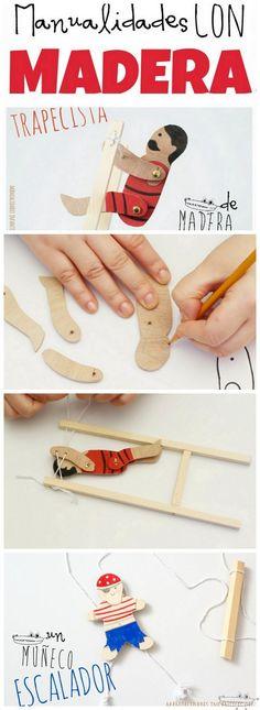 manualidades con madera ninos Wood Crafts, Diy And Crafts, Crafts For Kids, Projects For Kids, Diy Projects, Circus Crafts, Dremel Projects, Wood Toys, Paper Toys
