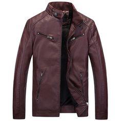 Motorcycle Vintage Leather Jacket Men Warm Faux Leather Coats PU Jacket For Men Winter