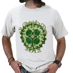 St. Patrick's Day raining shamrocks and Celtic cross faded grungy design for luck on Saint Paddys Day 2012