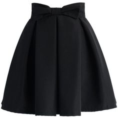 Chicwish Sweet Your Heart Bowknot Pleated Skirt in Black ($39) ❤ liked on Polyvore featuring skirts, bottoms, saias, jupes, pants, black, black skirt, pleated skirt, knee length pleated skirt and heart skirt