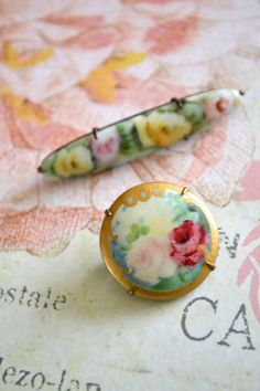 Pair of Vintage Handpainted Porcelain Brooches