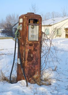 Old Gas Pump An old abandoned gas pump in Door County Wisconsin.