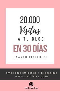 El Paso a paso para llevar miles de visitas gratis a tu web desde tu cuenta de Pinterest. 20,000 visitas a tu blog en sólo 30 días utilizando pinterest para promocionarlo. #redessociales #redessocialesmarketing #marketingredessociales #marketingpublicidad #marketingdigital #blog #pinterest