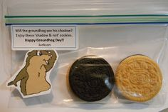 Happy Groundhog Day student gift with double sided Oreos and a cute note!