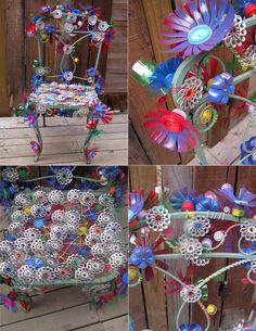 started with a fun old metal garden chair...got a little crazy with old colored electrical wire, plastic bottle flowers (spray painted) and can tabs.  guess i've got a little hippie in me...