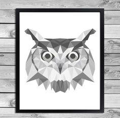 Geometrical Animal Print in black and white - Owl