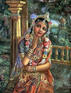 Love twinkle in Her ocean deep eyes, Love showers like blossoms in Her smiles, Love pours like honey dew in Her blessings, Love shines like sun rays in Her dressings, Love blooms like dew on Her lotus feet, Love is Sri Radha who resides in Vrindavan as Sri Krishna's heartbeat