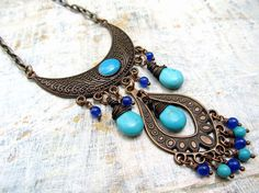 Turquoise Bohemian necklace copper Ethnic by Gypsymoondesigns, $39.00