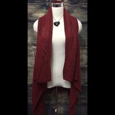 ❗️BOGO FRE❗️Fringe Cardigan High Low OSFM New with tags. Maroon. Marked medium but fits me at size 18. Would fit size 10-16. Long in the back. Waterfall style cardigan. Fringe. My Michelle Sweaters Cardigans