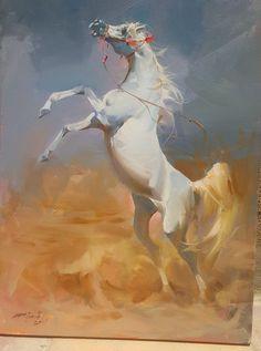 Wonderful horse painting by Iraqi painter Assad Abbas Beautiful Arabian Horses, Majestic Horse, Horse Drawings, Animal Drawings, Bob Ross Paintings, Arabian Art, Horse Artwork, Beauty In Art, Horse Face
