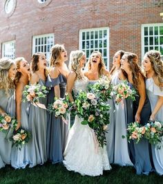25 Beautiful mismatched bridesmaid dresses for a significant day bridesmaid dress inspiration bridesmaiddress longbridesmaiddress - cakerecipespins. Wedding Pics, Blue Wedding, Wedding Bells, Wedding Colors, Dream Wedding, Wedding Ideas, Wedding Flowers, Wedding Stuff, Dusty Blue Bridesmaid Dresses