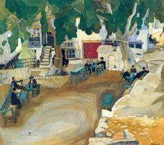 ''Kafenio , Mytilini (Skopelos Geras) '' by Spyros Papaloukas Painter Artist, Artist Painting, Greece Painting, Z Arts, 10 Picture, Greek Art, Conceptual Art, Greek Islands, New Art