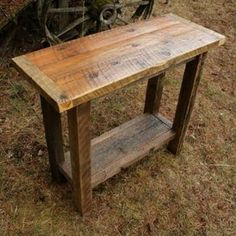Reclaimed Barnwood Sofa Table custom made by Echo Peak Design Barn Wood Crafts, Barn Wood Projects, Reclaimed Wood Projects, Reclaimed Wood Furniture, Reclaimed Barn Wood, Rustic Furniture, Rustic Wood, Diy Furniture, Barnwood Ideas