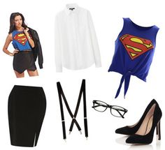 Superwoman in disguise: white button up, super tee, black skirt, red suspenders, glasses, blue heels