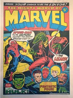 Until recently I wasn't aware that Starlin had done a series of covers for Marvel UK in the mid/late 70s. They rut the gamut from uninspired (see this first one) to brilliant. Check 'em out! And thanks to Steve Does Comics, http://stevedoescomics.blogspot.co.uk/2013/01/JimStarlinTopTenMightyWorldOfMarvelCovers.html