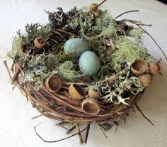 Bird Nest Nature Decoration Robin Eggs by InTheBluebellWoods Woodland Christmas, Burlap Christmas, Nature Decor, Nature Crafts, Bird Nest Craft, Bird Nests, Arte Floral, Spring Crafts, Easter Crafts