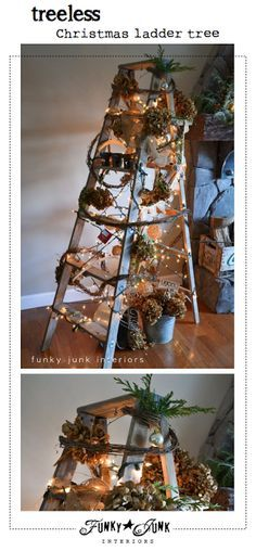 A treeless ladder Christmas tree - Day 10 - Funky Junk Interiors Ladder Christmas Tree, Unique Christmas Trees, Alternative Christmas Tree, Noel Christmas, Primitive Christmas, Rustic Christmas, All Things Christmas, Christmas Crafts, Christmas Decorations