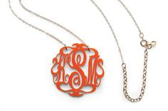 Monogrammed Necklace in 17 Colors - New Gameday Gear - Southernliving. This sweet acrylic necklace, made in North Carolina by jewelry designer Kelley Shatat, marries two great Southern loves—monograms and team colors.  Buy It: prices start at $58, available in 3 sizes, moonandlola.com Team Colors Available: turquoise, tortoise, black, gunmetal, white, pink, purple, red, orange, brown, ivory, cobalt blue, bright blue, seafoam light blue, grey, frost