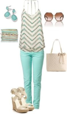 Loose blouse, mint pants, sunglasses, high heels and hand bag for ladies..