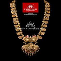 Buy Necklaces Online | Nakashi Mango Granduer - Lite from Kameswari Jewellers Gold Temple Jewellery, Gold Wedding Jewelry, Gold Jewelry, Bridal Jewelry, Antique Jewellery Designs, Gold Jewellery Design, Indian Jewelry Sets, India Jewelry, Gold Hair Accessories