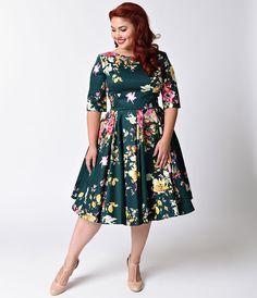 http://www.unique-vintage.com/clothing/dresses/plus-size/plus-size-vintage-deep-green-seville-floral-half-sleeve-hepburn-swing-dress.html